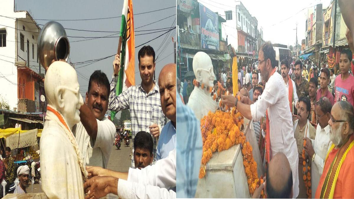 गांधी को लेकर भाजपा-कांग्रेस के बीच घमासान