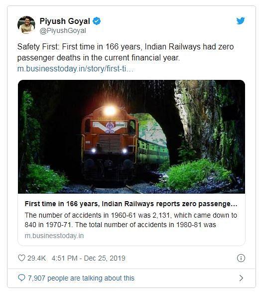 Screenshot of Piyush Goyal tweet
