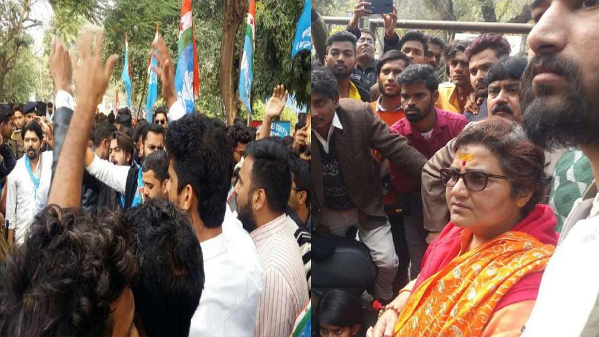 समर्थन में BJP सांसद प्रज्ञा ठाकुर पहुंची