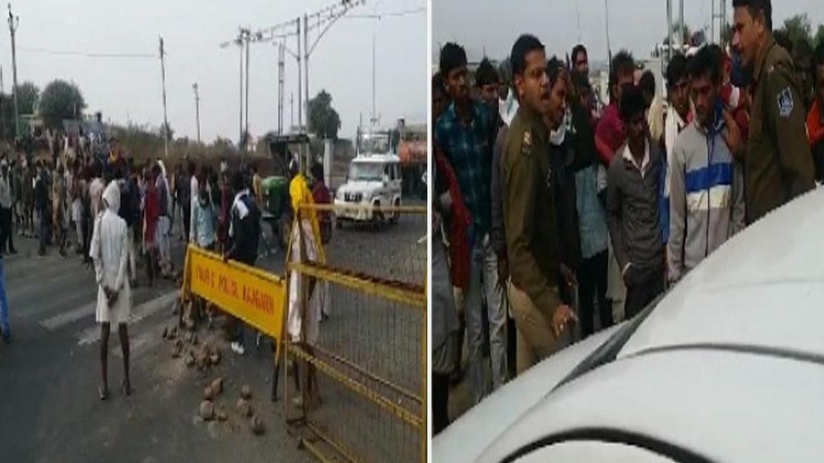 राजगढ़ : खाद के लिए किसानों का उग्र प्रदर्शन, किया चक्काजाम