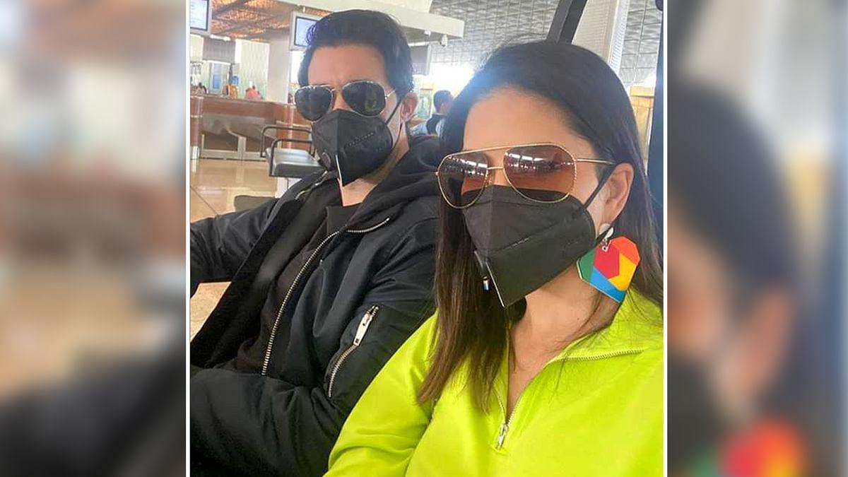 सनी लियोनी को है कोरोना वायरस का खौफ, फैन को देखते ही पहना मास्क