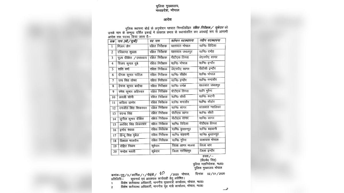 पुलिस मुख्यालय ने जारी की सूची