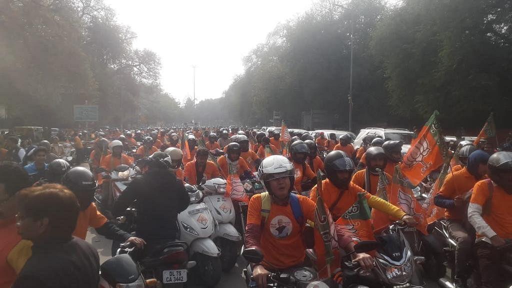 दिल्ली भाजपा की बाइक रैली: Delhi Assembly Election 2020