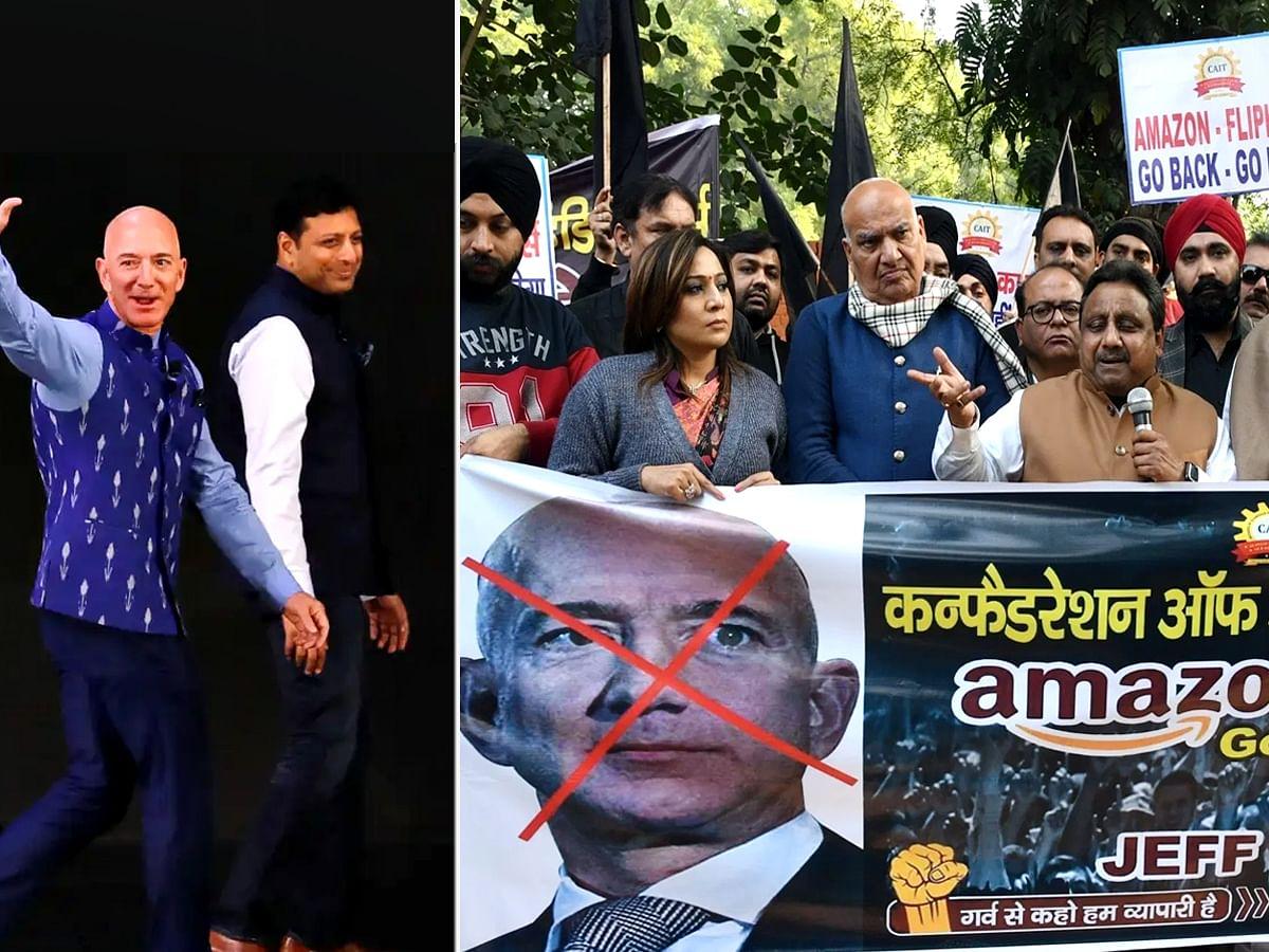 भारत दौरे पर Amazon फाउंडर: हो रहा जबरदस्त विरोध-प्रदर्शन