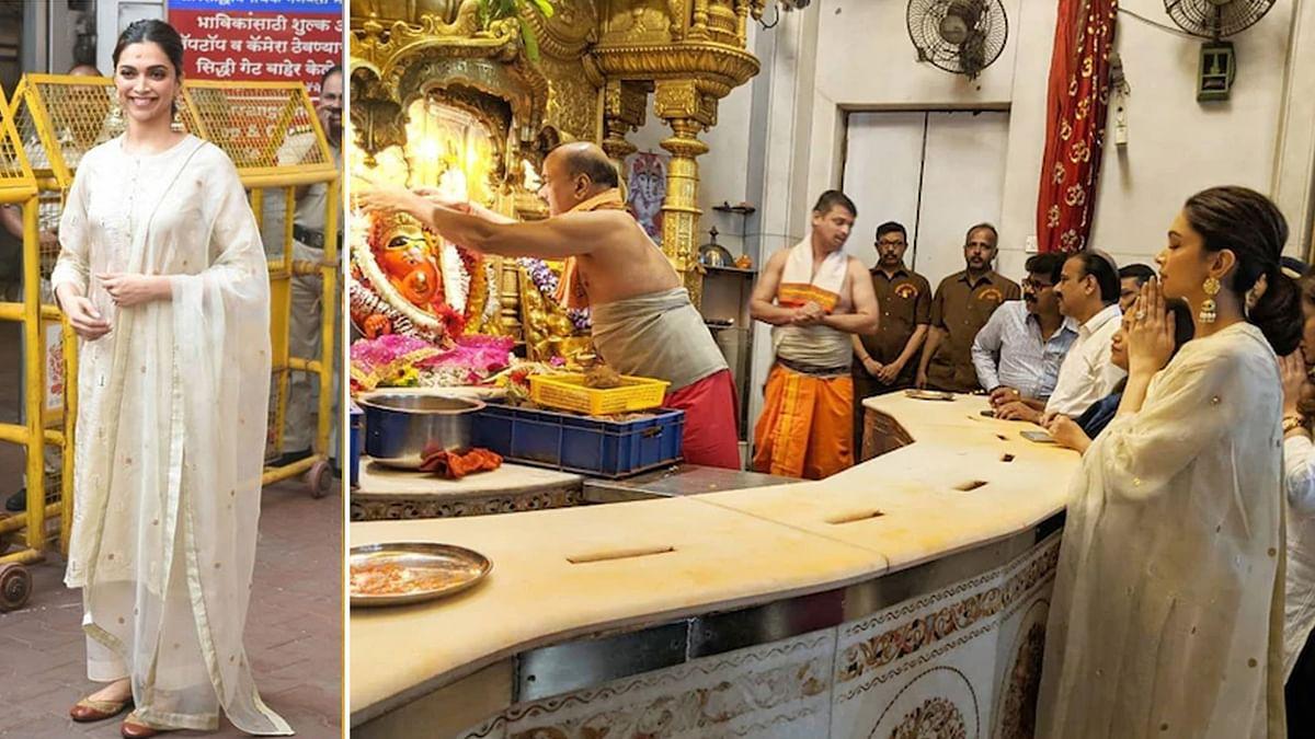 'छपाक' की सफलता के लिए सिद्धिविनायक मंदिर पहुंचीं दीपिका