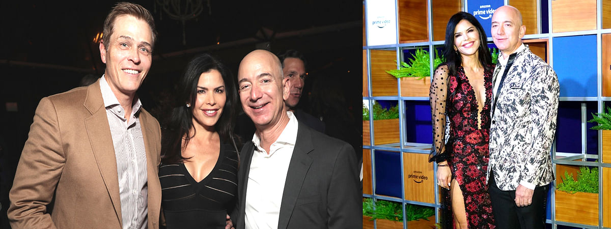 Jeff Bezos with Michael Sanchez and Lauren Sanchez