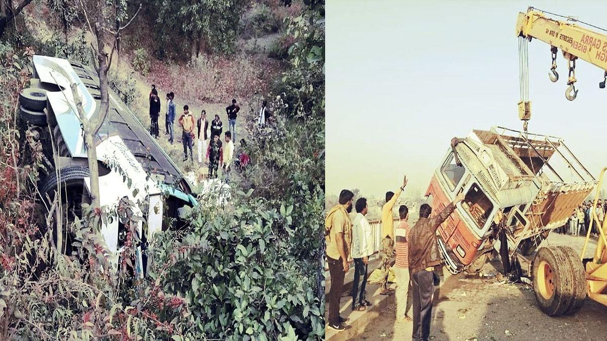 दो अलग हादसों में दुर्घटना का शिकार हुए बस और ट्रक, 12 यात्री घायल