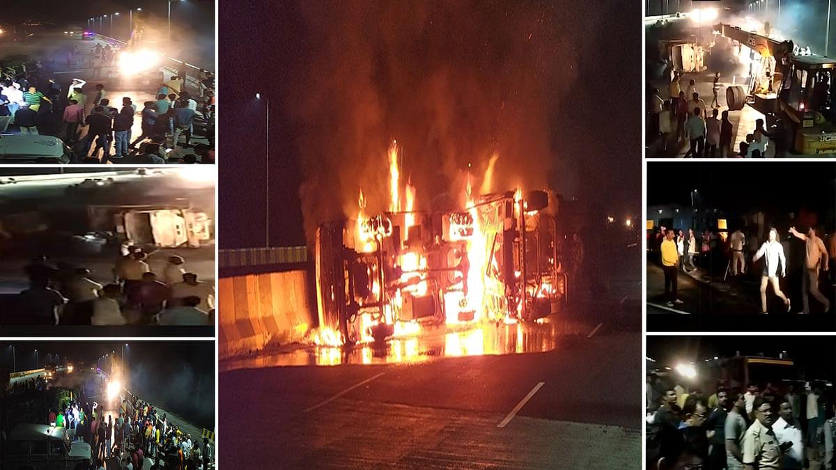 हादसा दर्दनाक: ट्रकों की भीषण टक्कर-आग और जल के मरे 5