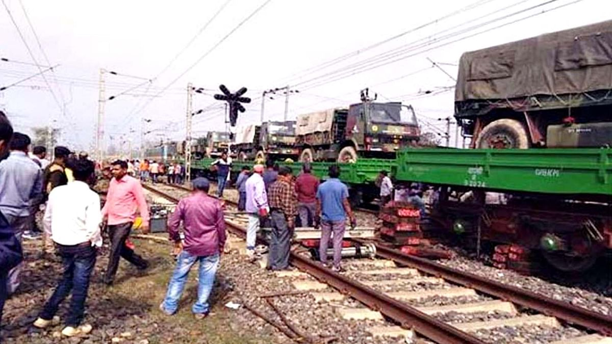 Indian Army Goods Train Accident At Tori Junction