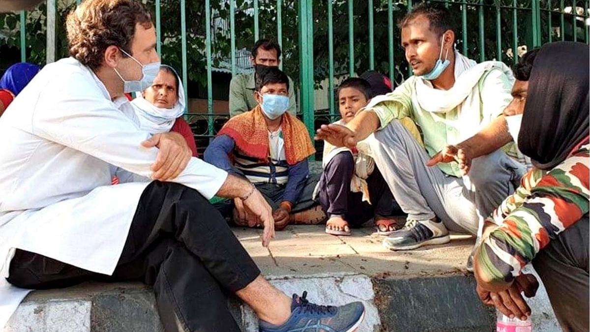 कोरोना काल में मजदूरों का दुख दर्द सुनने सड़को पर उतरे राहुल गांधी