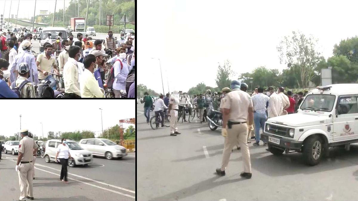 बॉर्डर सील करने से बढ़ी परेशानी, दिल्ली-गुरुग्राम में लगा भीषण जाम