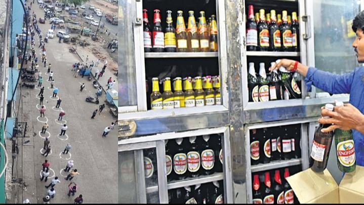 शराब की दुकानों पर टूट पड़े लोग, पुलिस- प्रशासन के लिए चुनौती