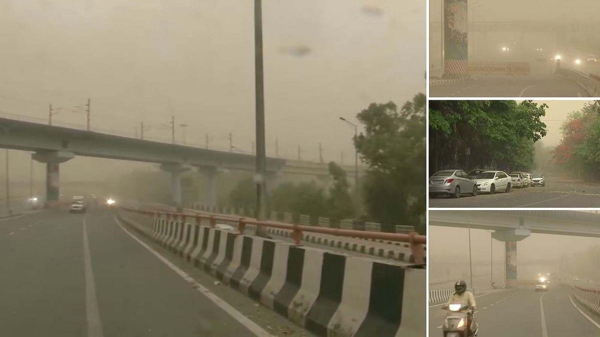 दिल्ली के मौसम का हाल: धूल भरी आंधी-तूफान-बारिश, दिन में छाया अंधेरा