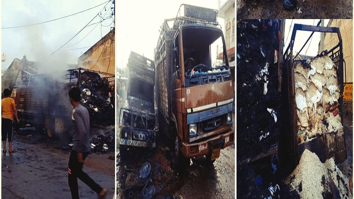 शिवपुरी: बिजली के तारों में हुई स्पार्किंग, आग की चपेट में आये दो ट्रक