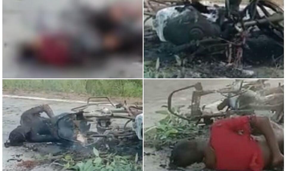 अनूपपुर: पिकअप और बाइक की टक्कर, हादसे में जिंदा जले 2 लोग