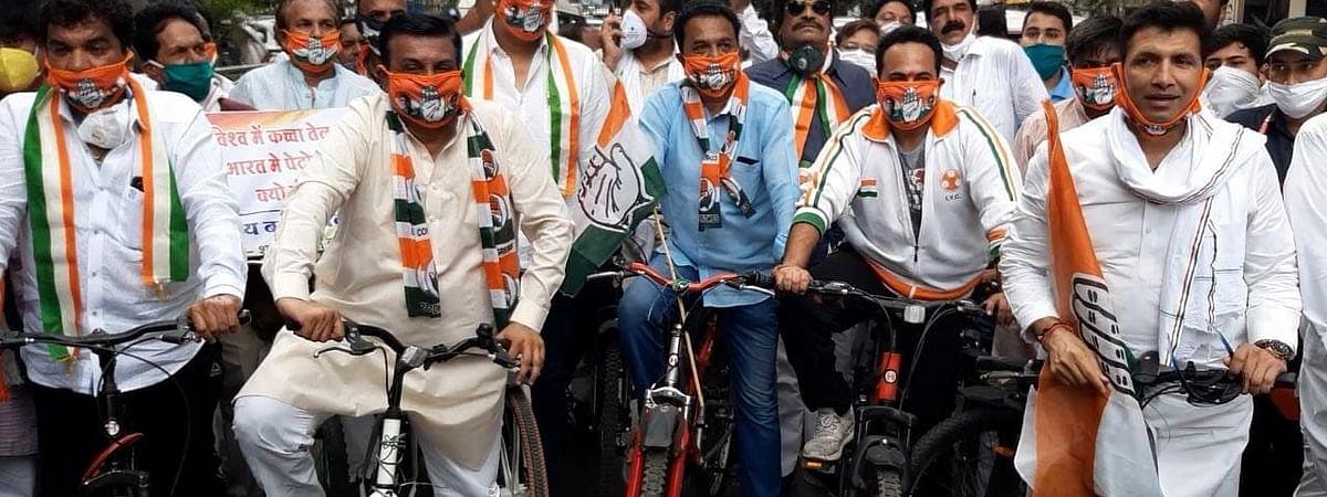 कांग्रेस की इंदौर में साइकिल रैली