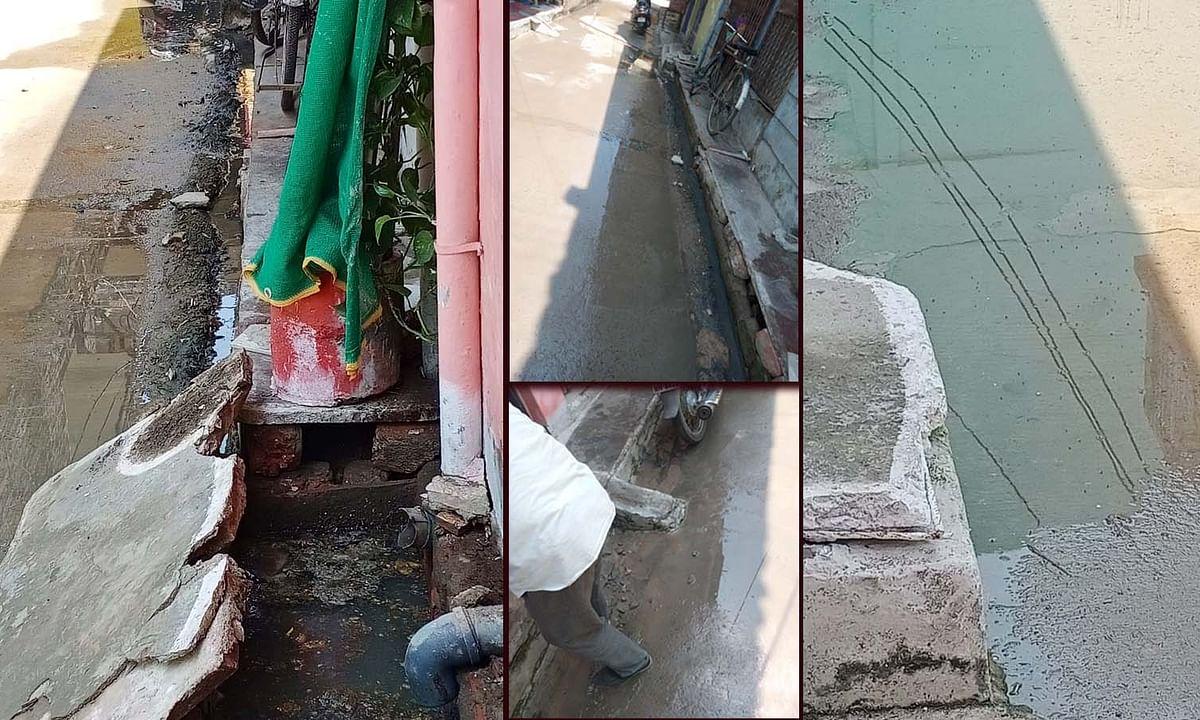 भोपाल: कोरोना के बीच रहवासी गंदगी से परेशान- सड़क पर नाले का गंदा पानी