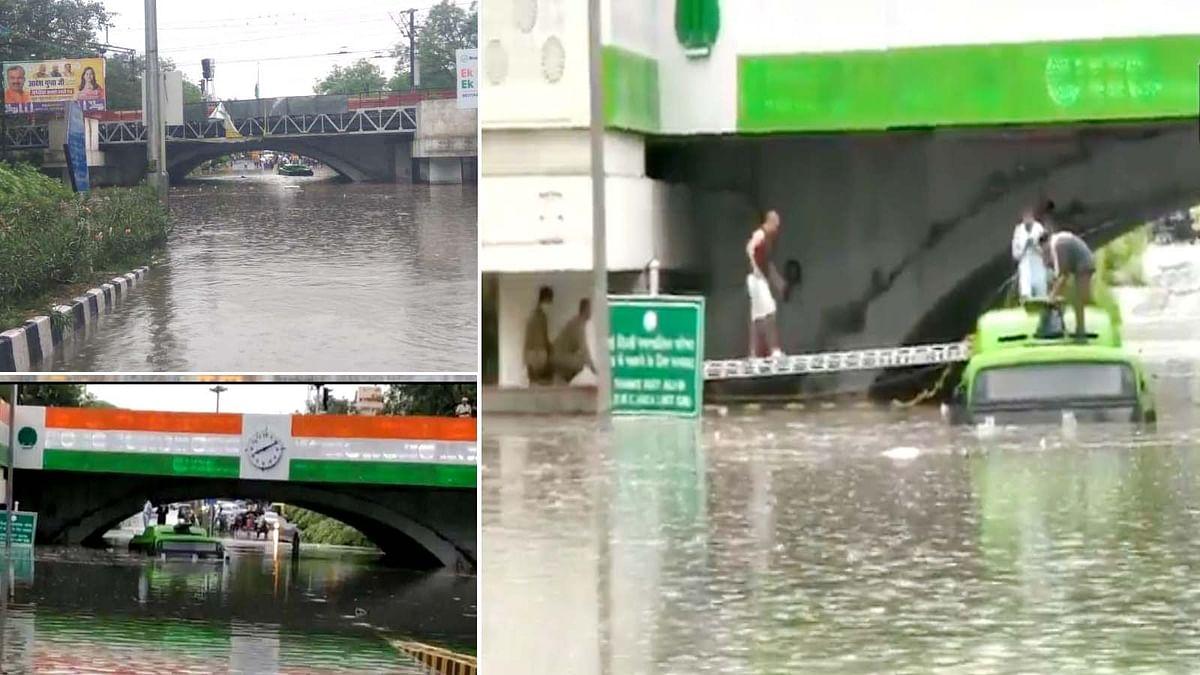 दिल्ली-NCR में झमाझम बारिश से इलाकों में भरे पानी में डूबी बस