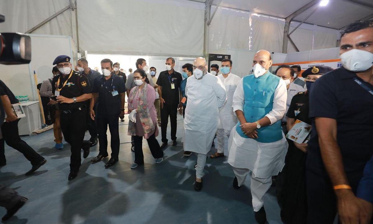 दिल्ली:12 दिन में 1000 बेड वाला कोविड अस्पताल,राजनाथ-शाह ने किया दौरा