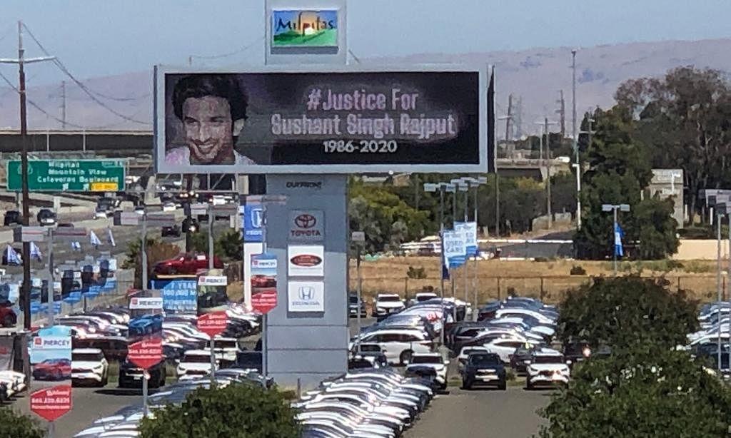सुशांत केस: पूरे विश्व में न्याय की मांग, केलिफोर्निया में लगे होर्डिंग