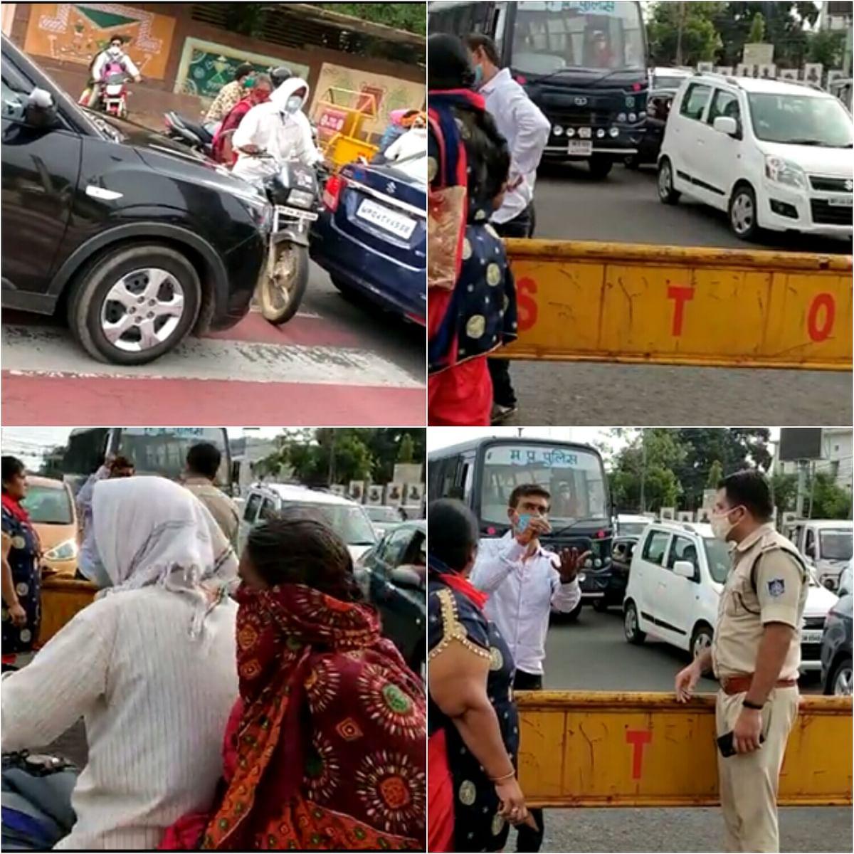 भोपाल: पुलिस चैकिंग के दौरान दिखा हाई वोल्टेज ड्रामा,पुलिस से की बदसलूकी