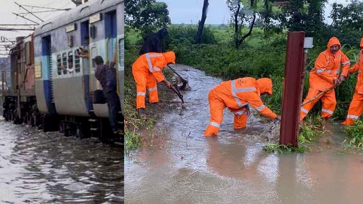 दिल्ली-मुंबई रेलमार्ग पर पटरी हो गई जलमग्न