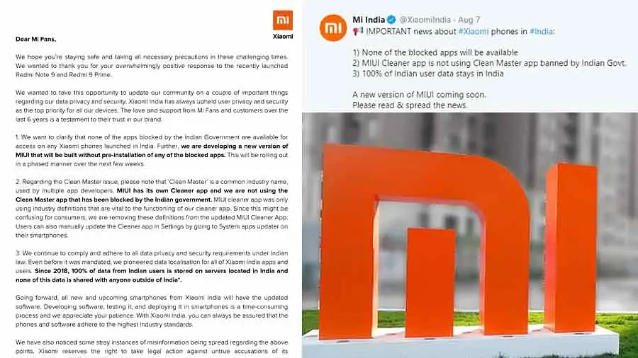 Xiaomi Gave statement about  banned apps in India