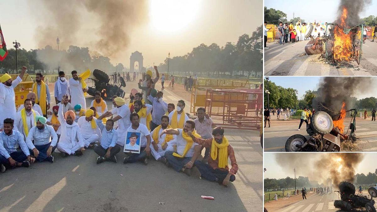 दिल्ली:कृषि कानून के खिलाफ प्रदर्शनकारियों ने इंडिया गेट पर जलाया ट्रैक्टर
