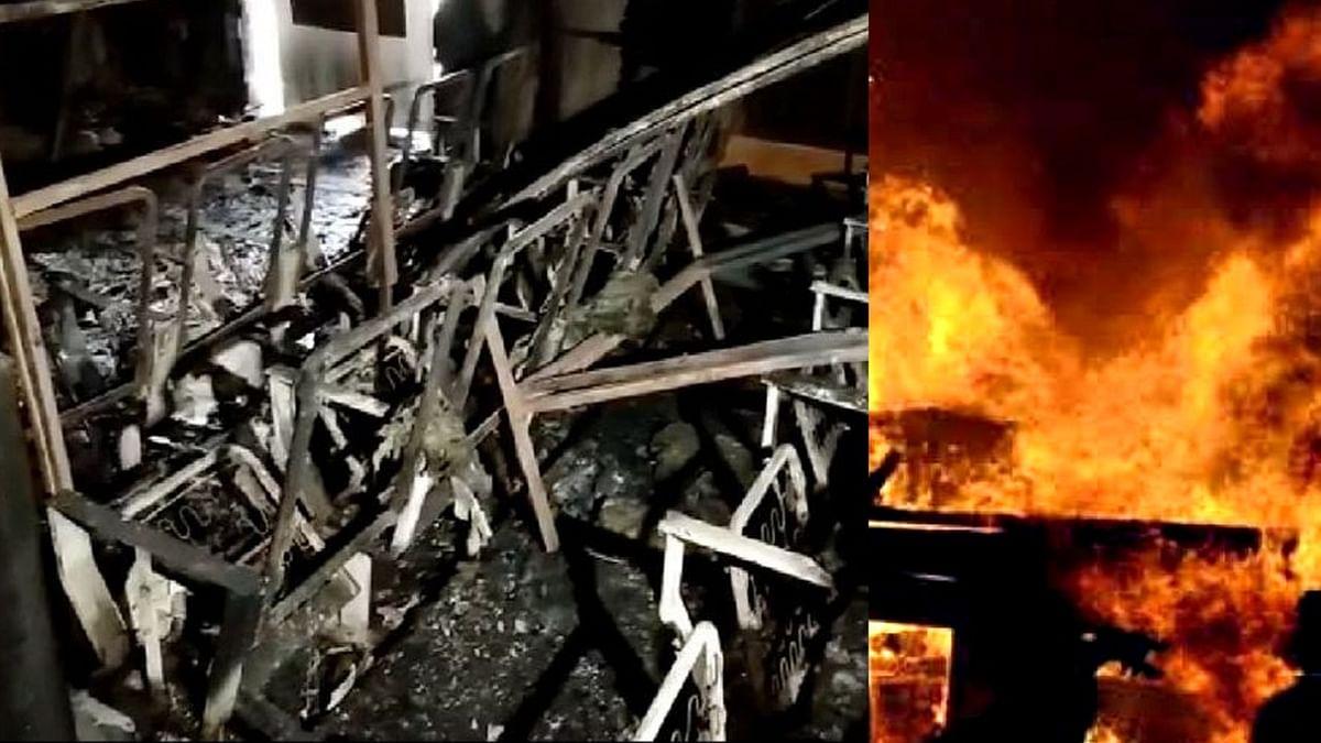 इंदौर : आनंद मोहन माथुर ऑडिटोरियम में लगी आग