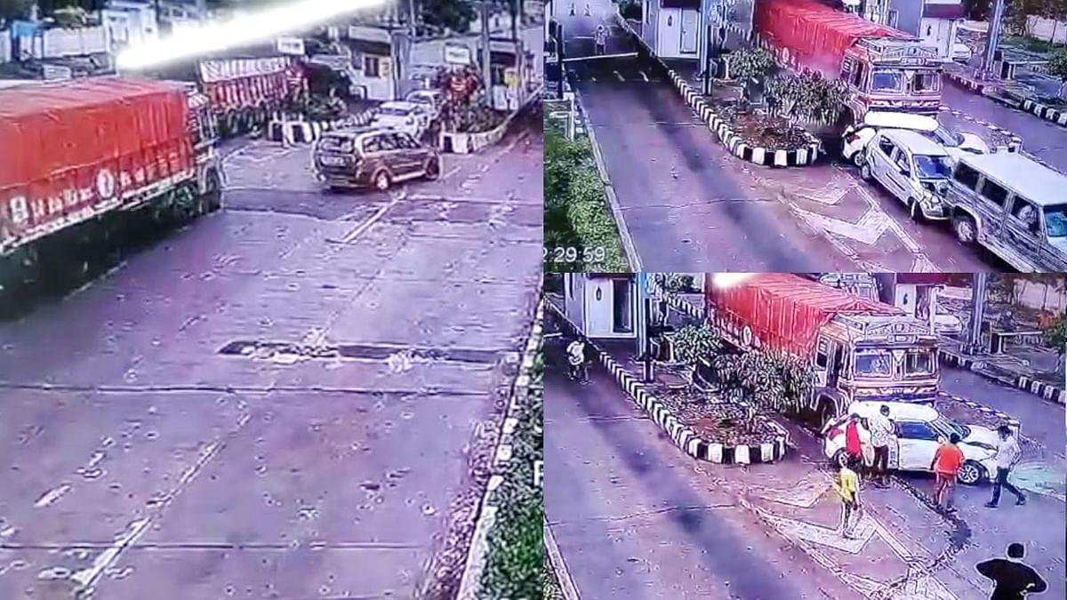 देवास: बड़ा हादसा होते-होते बचा, ट्रक चालक ने 3 कारों को पीछे से मारी टक्कर