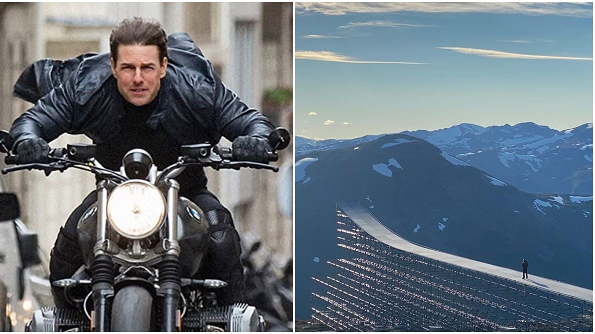Tom Cruise performs death-defying motorcycle stunt