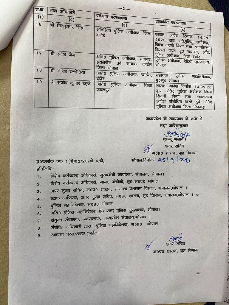 पुलिस विभाग ने जारी की लिस्ट