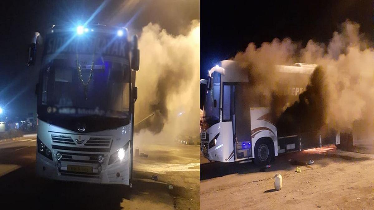 इंदौर से मुंबई की ओर जा रही बस में लगी आग, धमाके के बाद घबराकर उठे यात्री