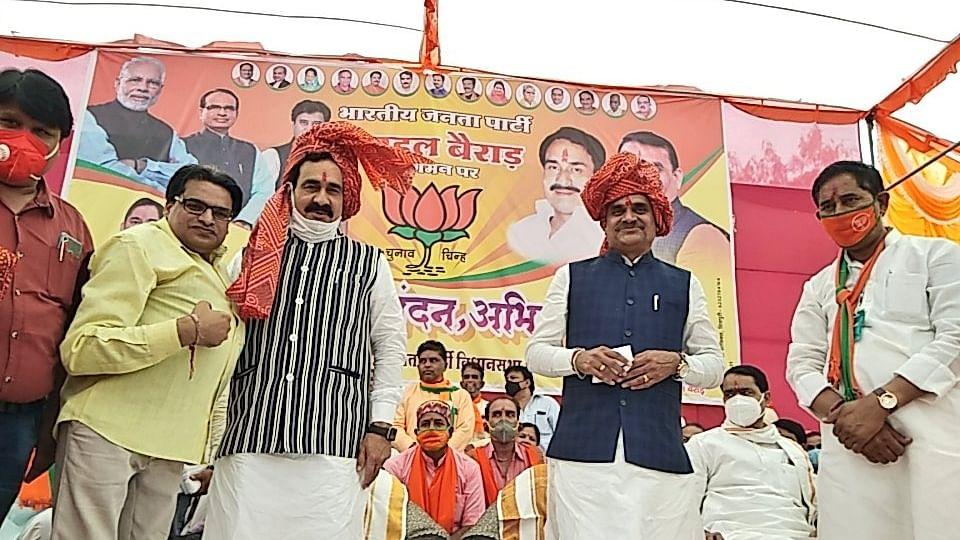 BJP प्रत्याशी सुरेश धाकड़ के समर्थन में उतरे मंत्री मिश्रा, जनता से की अपील