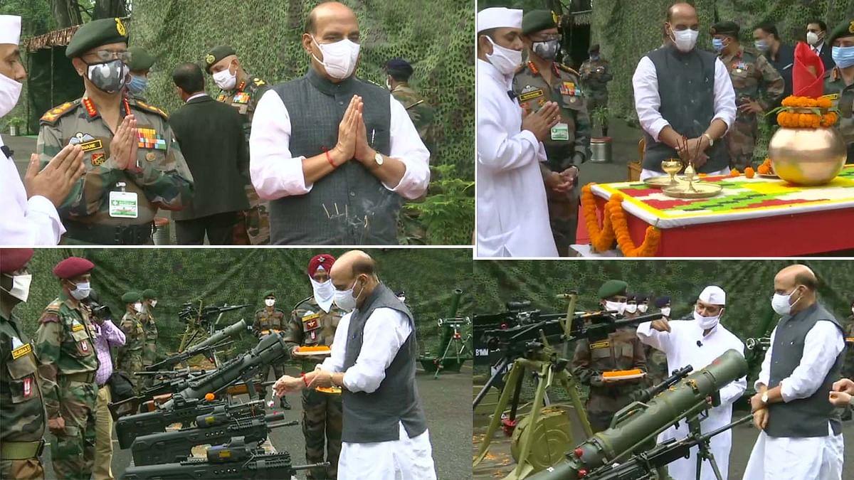 सिक्किम में LAC के पास विजयादशमी पर राजनाथ सिंह का 'शस्त्र पूजा' समारोह