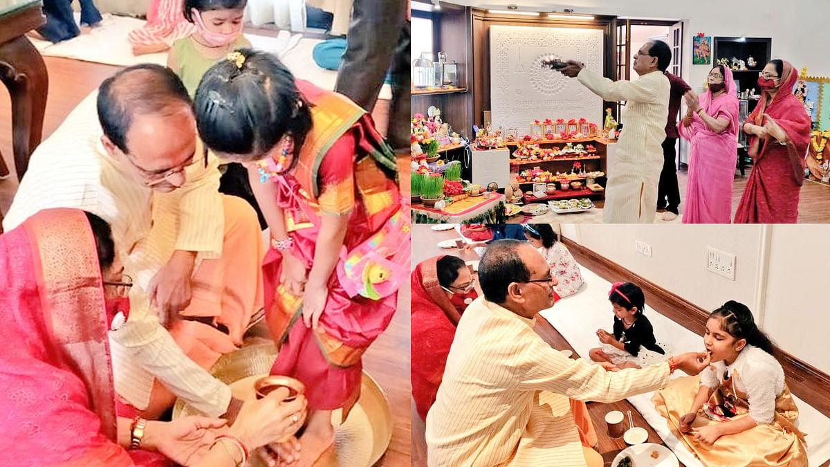 भोपाल: महानवमी के उपलक्ष्य पर CM शिवराज सिंह ने कन्याओं को करवाया भोजन