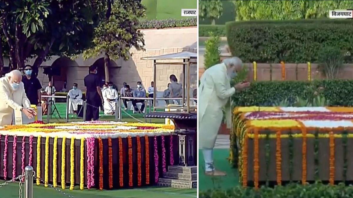 PM मोदी ने महात्मा गांधी और लाल बहादुर शास्त्री की समाधि पर फूल किए अर्पित