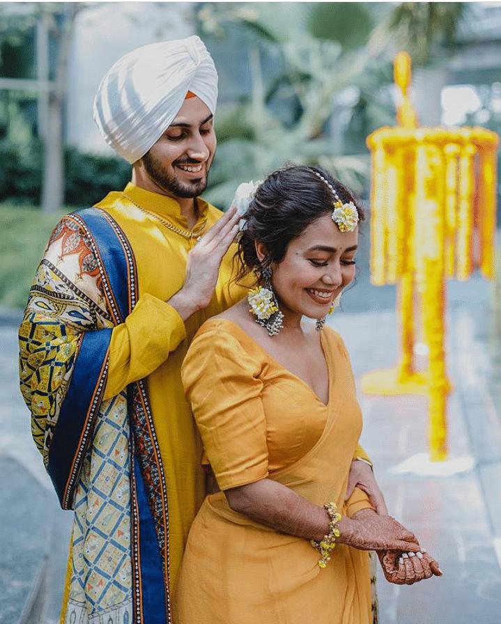 Neha Kakkar and Rohanpreet Singh haldi  ceremony pic