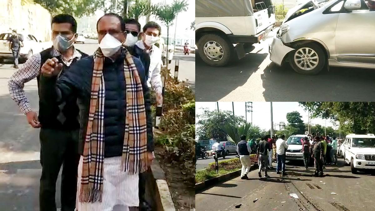 कमलनाथ का काफिला मीडिया की गाड़ी से टकराया, हादसे के बाद सीएम मौके पर रुके