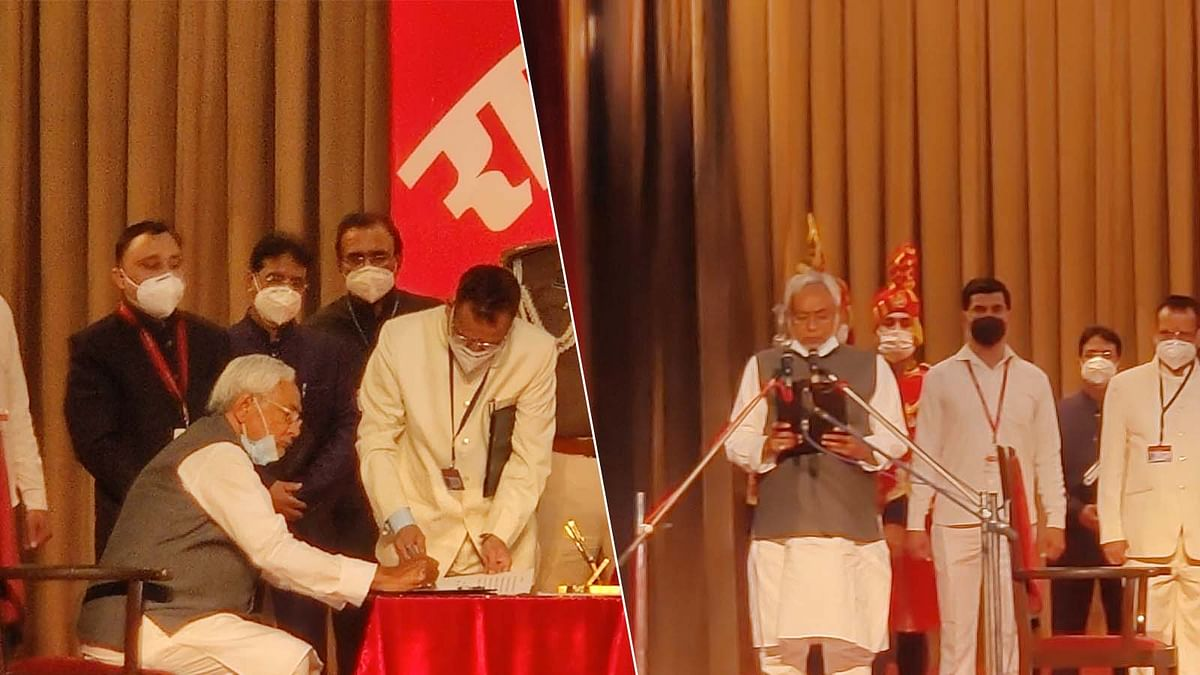 बिहार में फिर नीतीश की सरकार- शपथ ग्रहण कर 7वीं बार बने CM