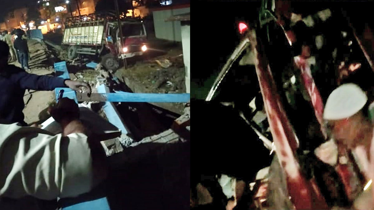 भोपाल: गैस सिलेंडर से भरा ट्रक अनियंत्रित होकर दुघर्टनाग्रस्त, टला हादसा