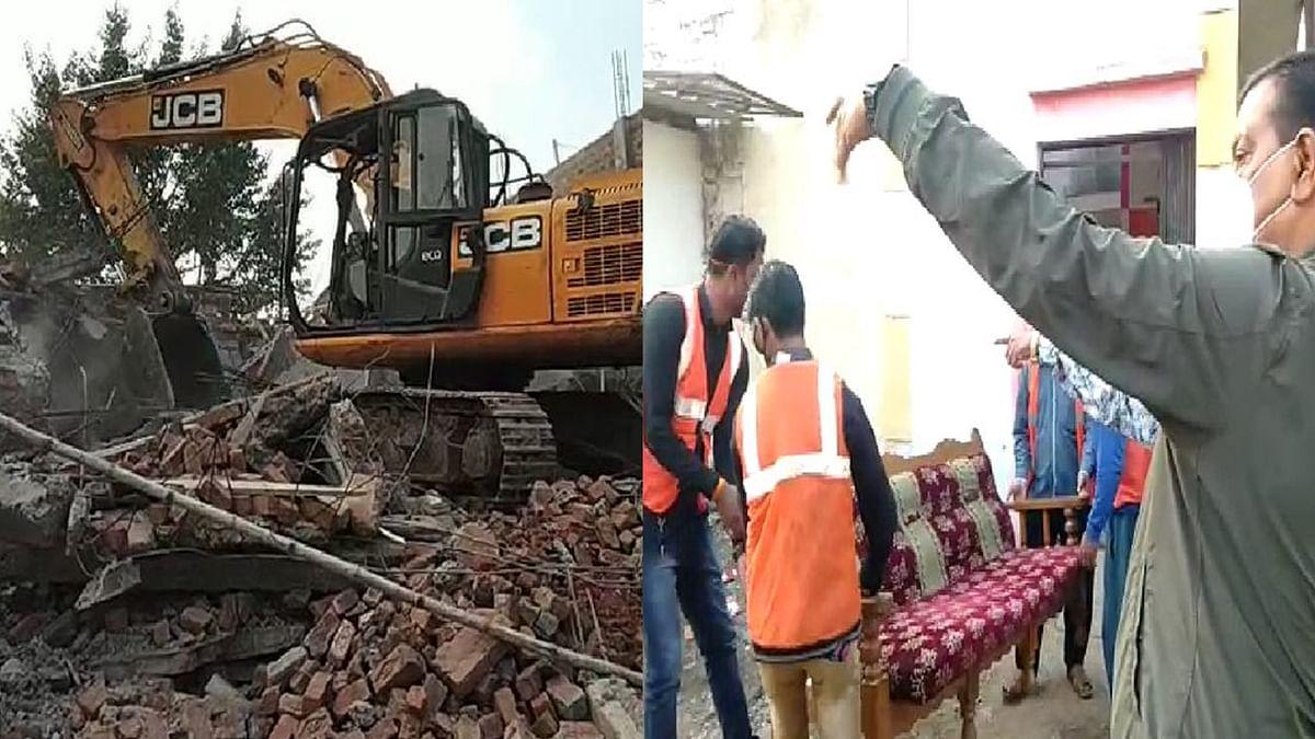 एंटी माफिया अभियान जारी, हिस्ट्रीशीटर असलम के अवैध निर्माणों पर चला बुलडोजर