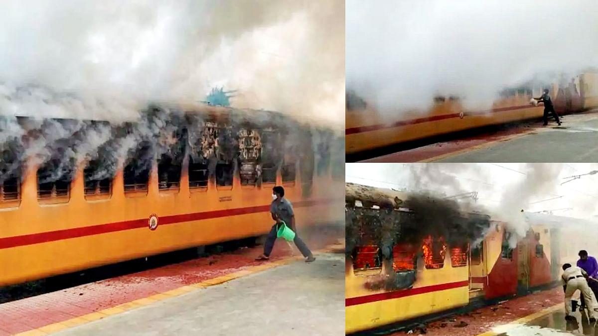 तेलंगाना: मेडचल रेलवे स्टेशन पर ट्रेन के दो डिब्बों में अचानक लगी भीषण आग