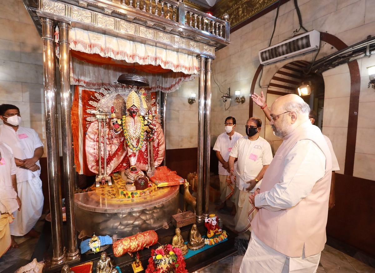 शाह ने दक्षिणेश्वर काली मंदिर में की पूजा अर्चना