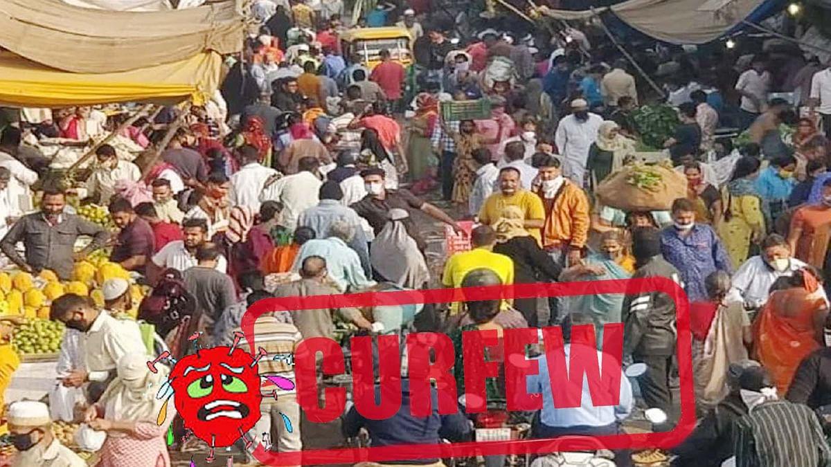 अहमदाबाद में कर्फ्यू लागू होने से पहले मार्केट में उमड़ी जबरदस्त भीड़