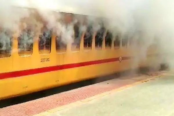 Fire in two train coaches at Medchal railway station of telangana