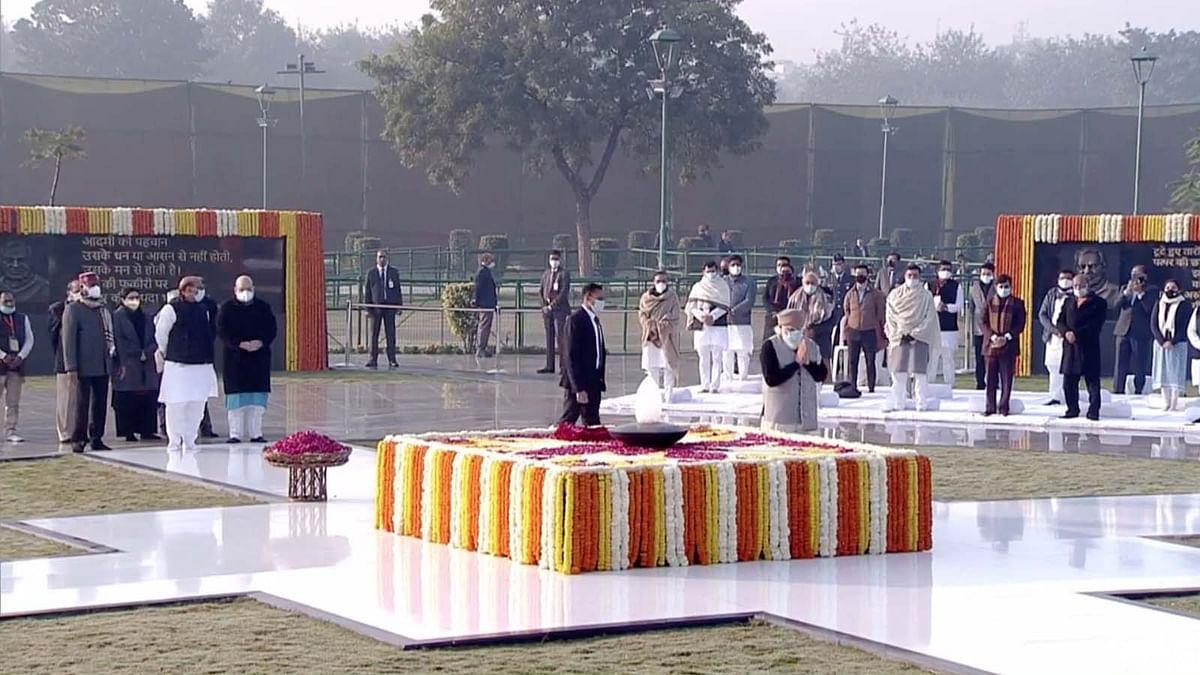 अटल बिहारी की 96वीं जयंती पर 'सदैव अटल समाधि' स्थल पर पुष्पांजलि कार्यक्रम