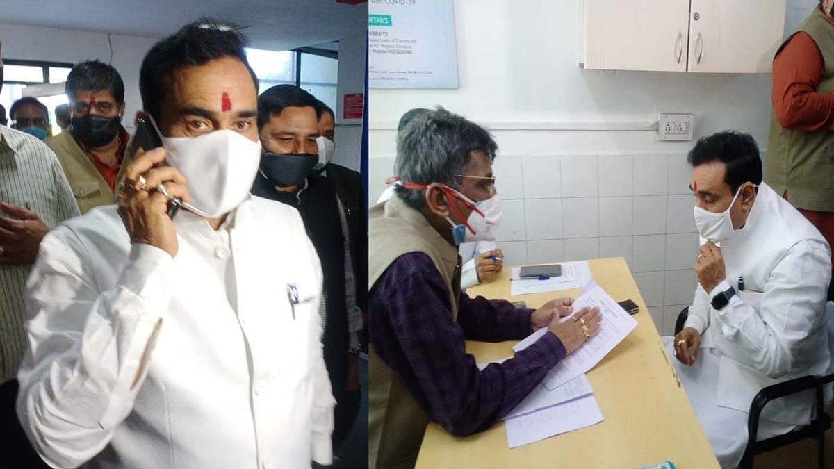 ट्रायल के लिए मिश्रा पहुंचे पीपुल्स अस्पताल, नियमों के कारण हुए साइडलाइन