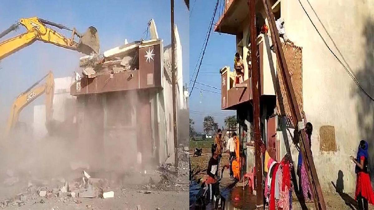 एंटी माफिया अभियान के तहत अब बदमाश रघुवीर के अवैध निर्माण को किया ध्वस्त