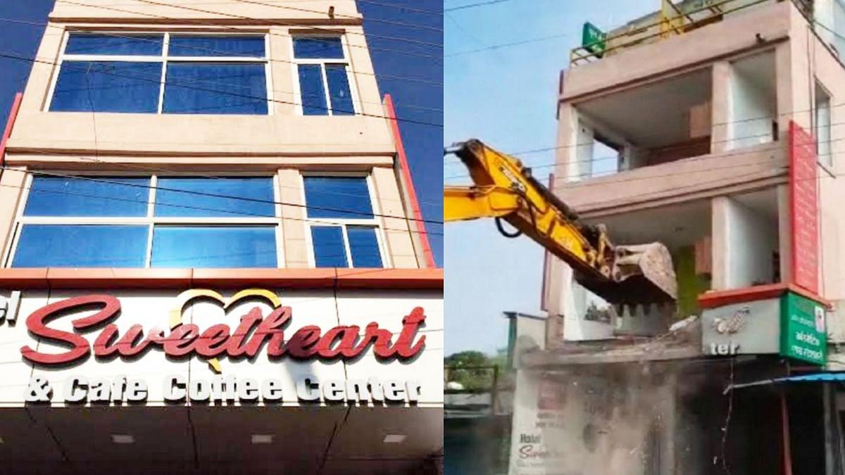 इंदौर में बड़ी कार्रवाई: अब अय्याशी का अड्डा बने होटल 'स्वीटहार्ट' को ढहाया